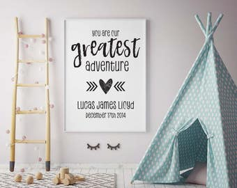 Personalised You are Our Greatest Adventure Framed Digital Print, Child's Nursery or Bedrooms, Customise Name and Birthday