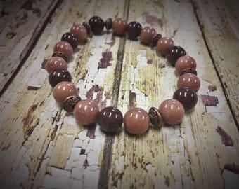 Chocolate Latte Stacker/Beaded Bracelet/Stacker bracelet/arm candy