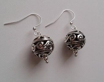 Large Bali Bead Earrings  (E14-281)