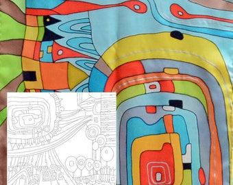 "Template for batik ""Hundertwasser"", Draft for Batik (shawl 32x32 in.), sketch, painting on silk, silk painting, cold batik technique"