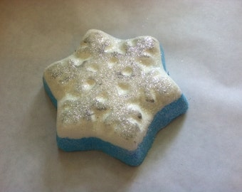 Frost Bite! Ice Blue Scented Snowflake Bath Bomb. XL Bomb. Foaming Bath Bomb. Lush Type.