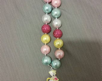 Beauty and the beast child's chunky bead necklace
