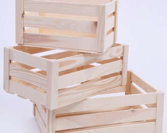Wooden Crates - set of three natural untreated wood - SN100k