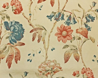 vintage colefax u0026 fowler peony linen designer fabric by the yard