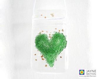 Green fused glass heart, suncatcher, heart light catcher, green gift, heart chakra present, wedding favours