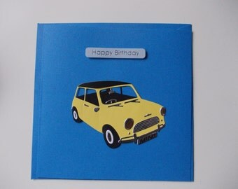 Handmade Birthday Card (1 Card) - Yellow Mini