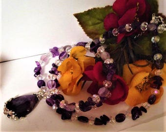 Set necklace and bracelet Amethyst