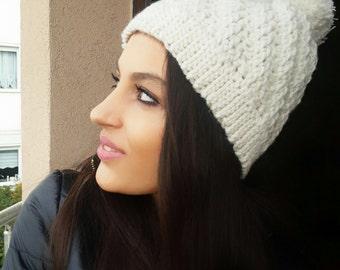 Sale winter hat , gift for her , pom pom hat , pom pom beanie, , crocheted hat ,  , knit pompom hat pompom hat ,