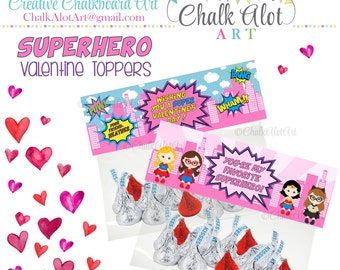 Superhero Valentine Treat Bag Toppers, Valentine Favors, Valentine's Day. Super Hero Valentines, Heros Valentine, GIRL PINK- PERSONALIZED
