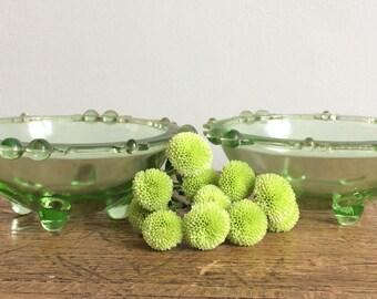 Vintage Green Glass Bowls