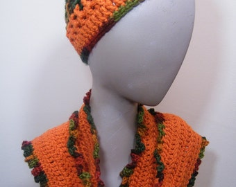 Ladies knit beanie hat and scarf/crochet
