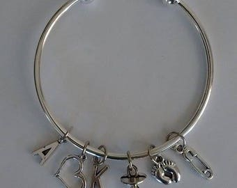 PERSONALIZED INITIAL BABY silver cuff bracelet