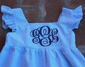 Monogram Blue Seersucker Dress,southern dress,seersucker dress,monogram dress,preppy dress,easter dress,summer dress,ruffle dress