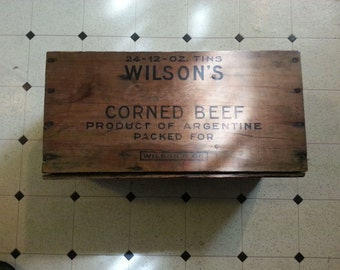 very nice vintage wilson's corned beef wood crate w/free shipping