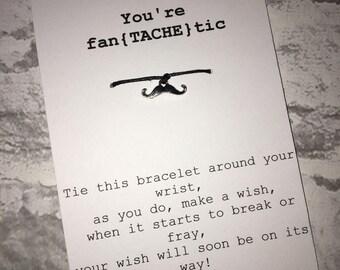 Moustache Wish Charm Bracelet; You're fan{tache}tic,