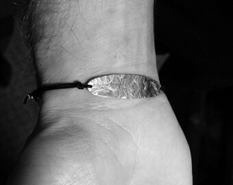 Bracelet pour homme plaque en argent sterling et fil de nylon