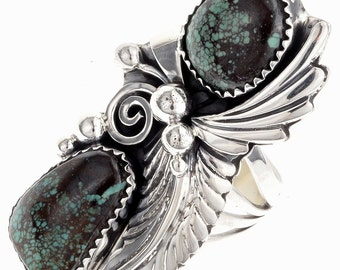 Native American Turquoise Silver Ring Ladies Jewelry