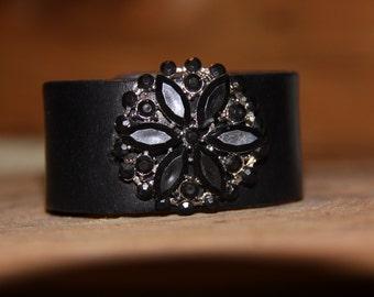 Leather Cuff Bracelet, Vintage Brooch Bracelet, Women's Bracelet, Vintage Bracelet