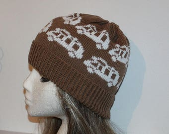 Chocolate Brown with White Camper Vans Beanie Hat - with or without pompom option