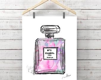 Chanel nº5 Parfum WATERCOLOR illustration instant DOWNLOAD printable, prints fashion Paris Fashion Art, wall decor, moda, glamour perfume