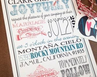 Oh my WORD we're getting married wedding 3 piece invitation, deposit listing