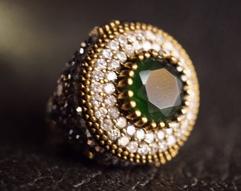 Emerald Silver Ring/Spiff Up Zircon/Antique Broonze/Handmade Unique/Free Shipping