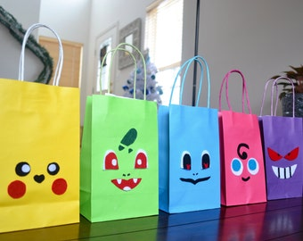 POKEMON FAVOR BAGS - Set of 12 Pokemon Inspired Favor bags, Party loot bags, Paper bag, Pokemon Birthday, Pokemon Theme Party, Gift Bag