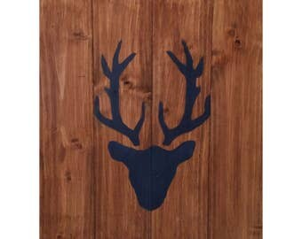 One Deer Head on Wood, cervid, roe deer, wall decoration, panache, gift idea, animal, desing, inspiration, decor, interior, home, style,