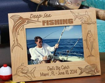 Personalized Engraved Deep Sea Fishing Wood Picture Frame Custom Name Gift