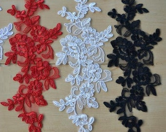 2 PCs Bridal Lace Applique Trim Appliques for Weddings,Headpieces,Sashes,Veils, WL732