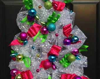 Tree Wreath, Mesh Wreath, Christmas Wreath, Winter Wreath, White Wreath, Door Wreath, Ribbon Wreath, Moss Wreath, Ornament Wreath, Gift