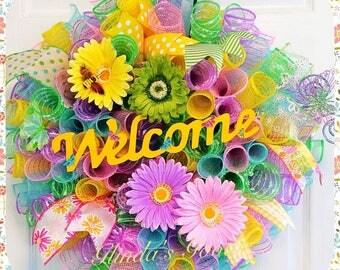 Welcome Wreath, Door Wreath, Easter Wreath, Spring Wreath, Welcome mesh wreath, Spring Mesh Wreath, Summer Wreath, Colorful Wreath