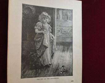 1892 Antique engraving Victorian girl original print