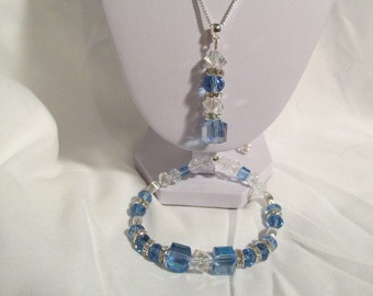 Bridesmaid Jewelry, Lt. Blue and Clear Swarovski Crystal, and Silver Necklace Set (3 sets)
