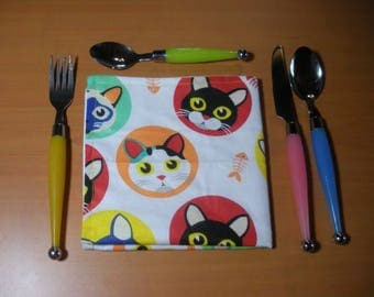 The cats - napkin for toddler cotton washable and reusable