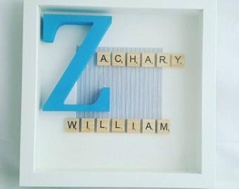 Scrabble tile name in a frame