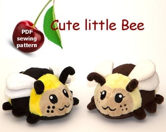 Bee stuffed animal handheld size plushie PDF sewing pattern - cute and easy kawaii anime DIY plush toy