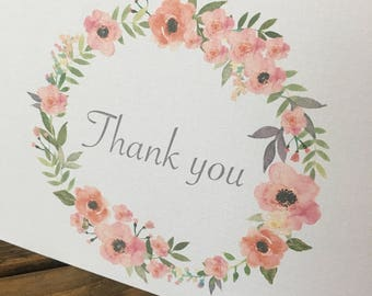 Thank you note - floral thank you - wedding thank you  cards - bridal shower thank you