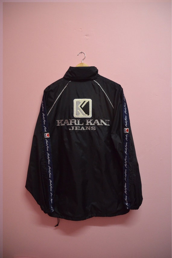 vintage karl kani jeans jacket nylon hoodie big logo size xl. Black Bedroom Furniture Sets. Home Design Ideas