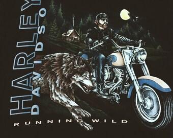 """VTG 1995 (M) Harley Davidson """"Running Wild"""" Graphic Tee"""