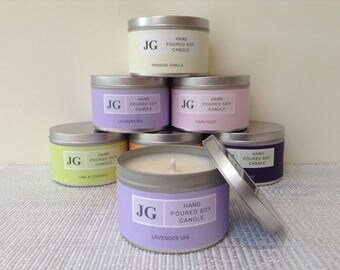 Lavender Spa scented soy candle tin
