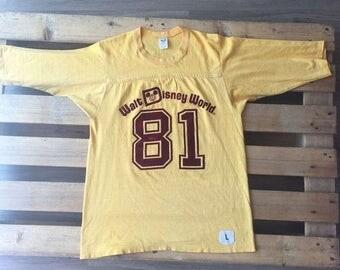 1980s Walt Disney World t-shirt, 80s, 81, 1981, mickey mouse, minnie, yellow, velvet, baseball, cartoon, retro, rare, donald duck