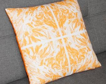 tile style orange cushion cover, decorative throw pillow, square, seaside, seaweed pattern, original design by EliseCeramics