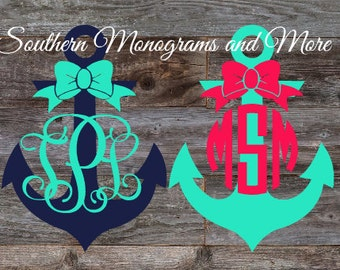 Monogram Anchor With Bow Decal ,Two Color Preppy Decal , Anchor Vinyl Decal For Yeti ,  Girly Car Decal