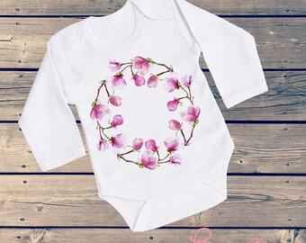 """Girl """"Magnolias' Garden"""" T-shirt or Onesie/Bodysuit for Baby Girl, Toddler, Newborn and Girl, Baby Shower Gift, Baby Girl Gift"""