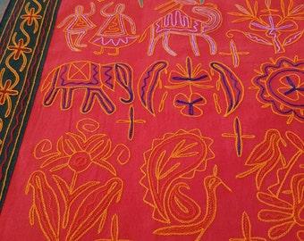 Handmade Indian Throw - Regal Red Elephant- QUEEN