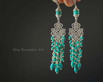 Natural Turquoise Earrings with Cubic Zirconia Silver 925K  Leverback Earwires