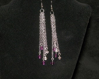 Silver Chain and Crystal Earrings