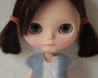 FREE SHIPPING Mohair veste for Blythe doll, blue mohair veste, Spring veste for Blythe
