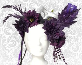 "Headdress ""Purple Harlequin"" flower head dress"
